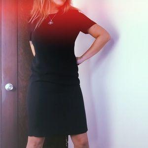 Vintage 90s Black Crepe Tee Shift Dress